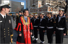 Mayor Garry Moore inspecting the Charter Parade with Tony Millar, the Commander Officer of HMNZS Canterbury