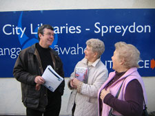 Mayor Garry Moore with supporters of the Spreydon Library.