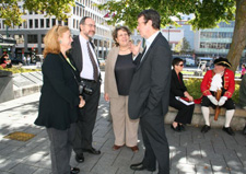 Mayor Garry Moore has a welcome chat with an education delegation from Catalan, Barcelona, Spain.