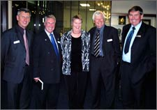 Jan Francis, Executive Officer of the Mayors Taskforce for Jobs, with MTFJ members (l to r) Mayor Brendan Duffy (Horowhenua DC) Mayor Mchael McEvedy (Selwyn DC) Mayor Jim Gerard (Waimakariri DC) Mayor Juno Hayes (Clutha DC), at the MTFJ Annual meeting, March 2005.